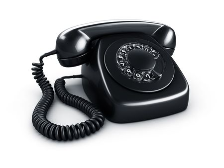 3d rendering of an old vintage rotary phone in black photo