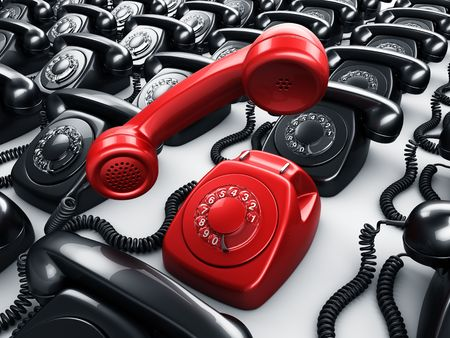 3d rendering of an old vintage rotary phone in red surrounded by black phones photo