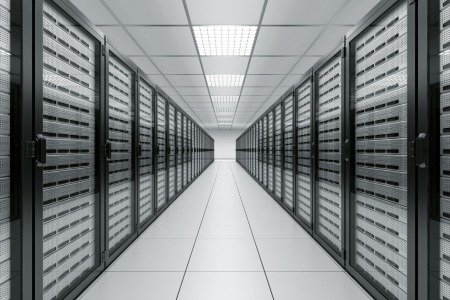 racks: 3d rendering of a server room with black servers Stock Photo