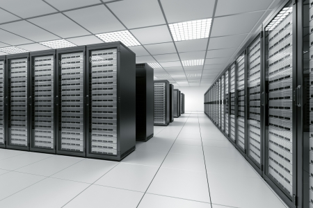 network server: 3d rendering of a server room with black servers Stock Photo