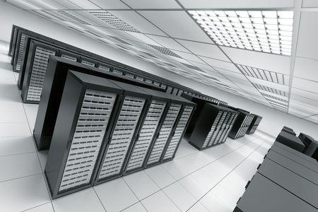 renderfarm: 3d rendering of a server room with black servers Stock Photo