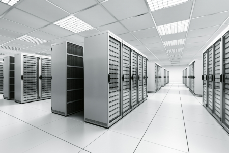 3d rendering of a server room with white servers Stock Photo - 6039649