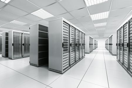 rechenzentrum: 3D Rendering von einem Serverraum mit wei�en Servern Lizenzfreie Bilder