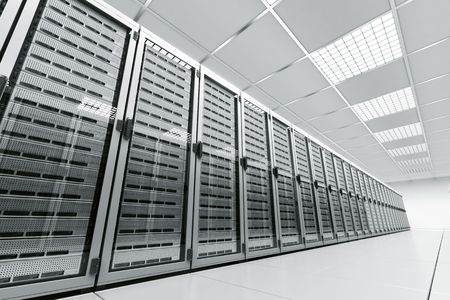 web server: 3d rendering of a server room with white servers