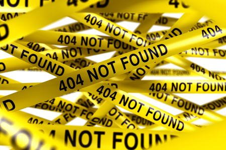 found: 3d rendering of Caution tape with 404 NOT FOUND written on it Stock Photo