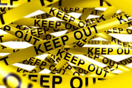 3d rendering of caution tape with KEEP OUT written on it Stock Photo - 6186535