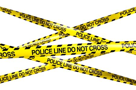 3d rendering of caution tape with POLICELINE DO NOT CROSS written on it photo