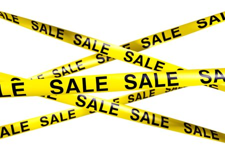 caution tape: 3d rendering of caution tape with SALE written on it