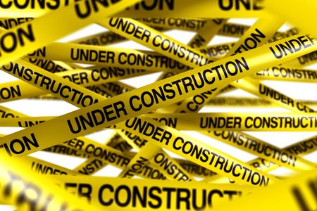caution tape: 3d rendering of caution tape with UNDER CONSTRUCTION written on it