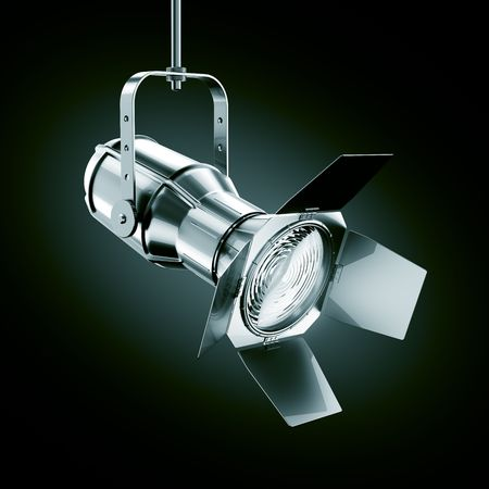 isolated spot: 3d rendering of a chrome spotlight on a dark background Stock Photo