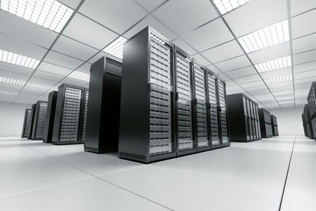 room service: 3d rendering of a server room with black servers Stock Photo