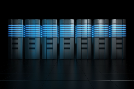 3d rendering of futuristic servers photo