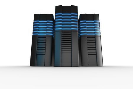 renderfarm: 3d rendering of futuristic servers on a white background