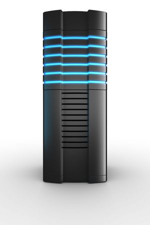 3d rendering of a futuristic server on a white background Stock Photo