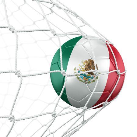bandera mexicana: representaci�n 3D de una pelota de f�tbol en una red