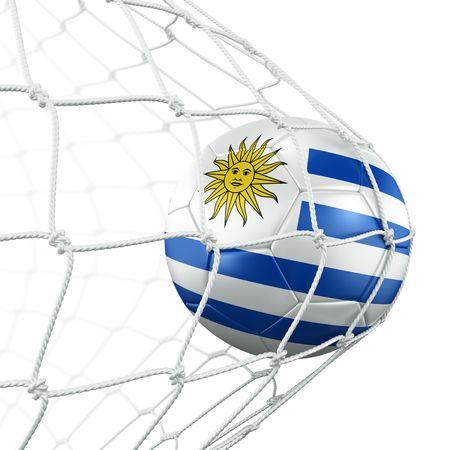 bandera de uruguay: representaci�n 3D de un bal�n de f�tbol uruguayo en una red Foto de archivo