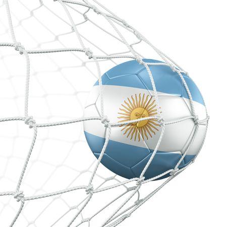 flag of argentina: representaci�n 3D de un bal�n de f�tbol argentino en una red