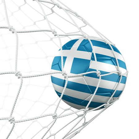 3d rendering of a Greek soccer ball in a net Stock Photo - 6186583