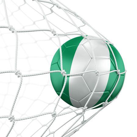 nigerian: 3d rendering of a Nigerian soccer ball in a net
