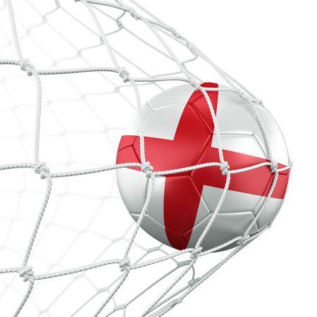 bandera inglesa: representaci�n 3D de un bal�n de f�tbol ingl�s en una red Foto de archivo