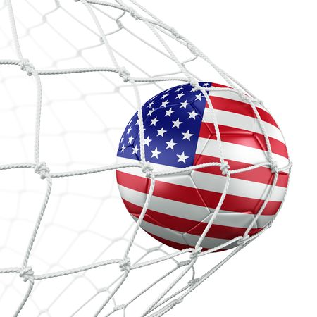 soccer net: 3d rendering of an American soccer ball in a net
