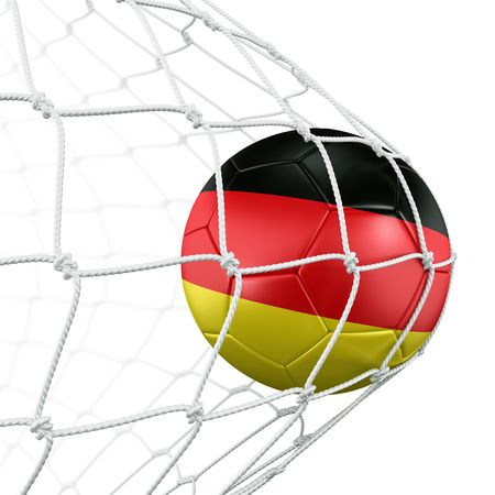 germany flag: 3d rendering of a German soccer ball in a net