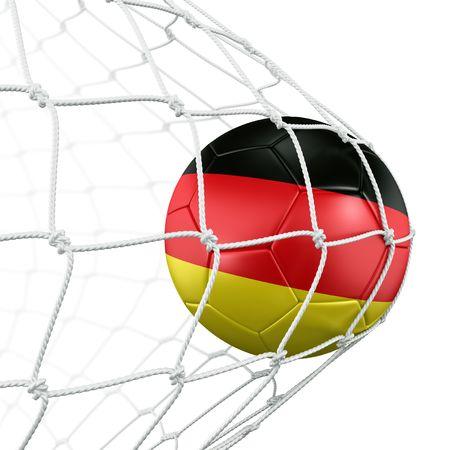 bandera de alemania: representaci�n 3D de un bal�n de f�tbol alem�n en una red