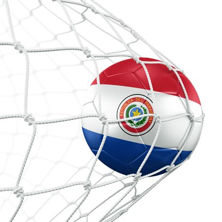 3d rendering of a Paraguayan soccer ball in a net photo