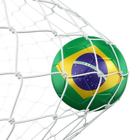 brazilian flag: 3d rendering of a Brazilian soccer ball in a net