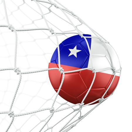 3d rendering of a Chilean soccer ball in a net photo