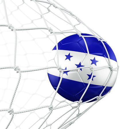 bandera de honduras: representaci�n 3D de un bal�n de f�tbol de Honduras en una red