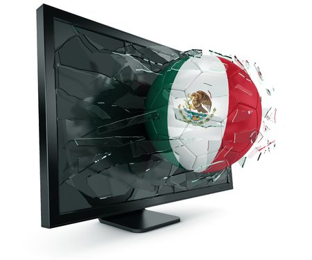 soccerball: 3d rendering of a Mexican soccerball breaking through monitor