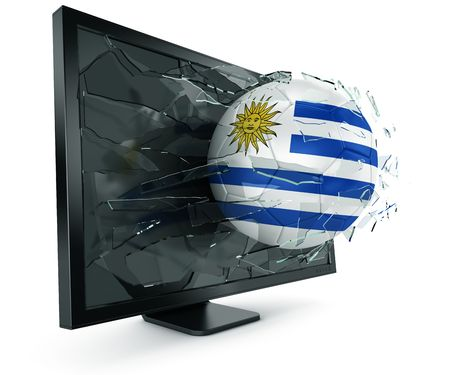 3d rendering of a Uruguayan soccerball breaking through monitor photo