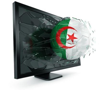 Algierski: trójwymiarowa algierski soccerball zerwania za poÅ›rednictwem Monitora Zdjęcie Seryjne