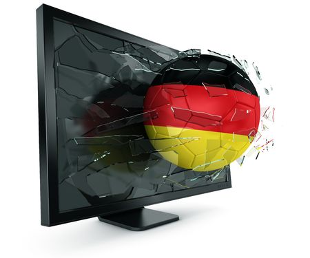 3d rendering of a German soccerball breaking through monitor photo