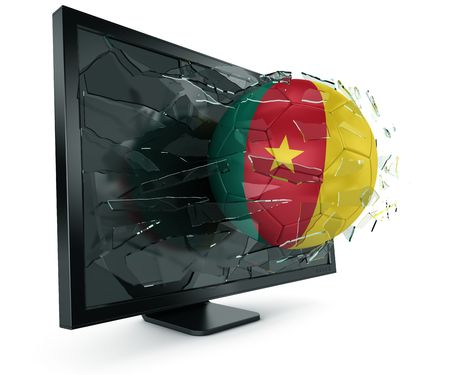 cameroonian: 3d rendering of a Cameroonian soccerball breaking through monitor Stock Photo