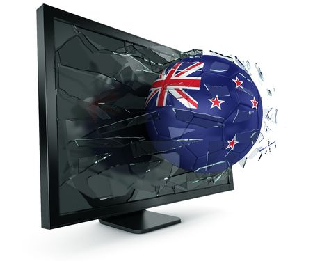 3d rendering of a New Zealander soccerball breaking through monitor Stock Photo - 6186558