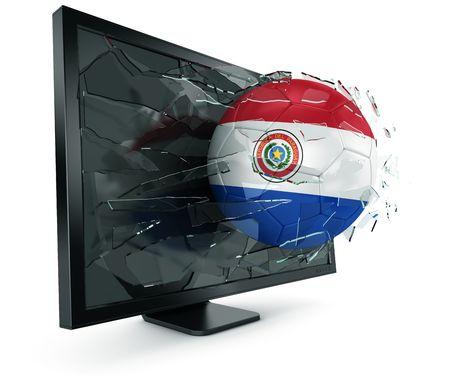 paraguayan: 3d rendering of a Paraguayan soccerball breaking through monitor Stock Photo