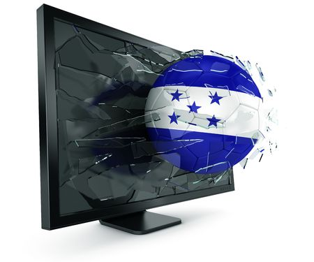 3d rendering of a Honduran soccerball breaking through monitor photo