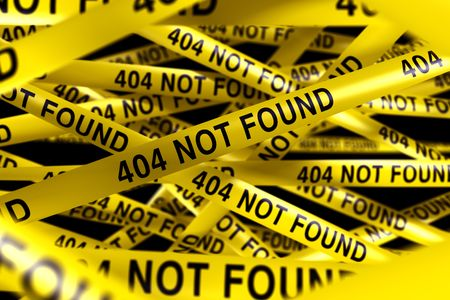 3d rendering of Caution tape with 404 NOT FOUND written on it Stock Photo - 6874366