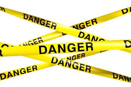 cintas: representaci�n 3D de la cinta de precauci�n con peligro escrito en �l