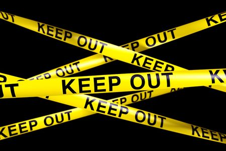 keep out: 3d rendering of caution tape with KEEP OUT written on it