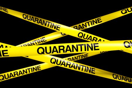 quarantine: 3d rendering of caution tape with QUARANTINE written on it Stock Photo