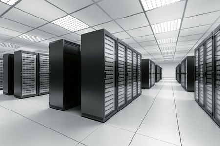 3d rendering of a server room with black servers Stock Photo - 6874380