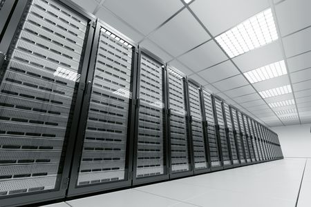 3d rendering of a server room with black servers Stock Photo