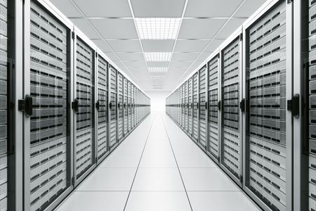 racks: 3d rendering of a server room with white servers