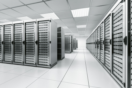 computer server: 3d rendering of a server room with white servers