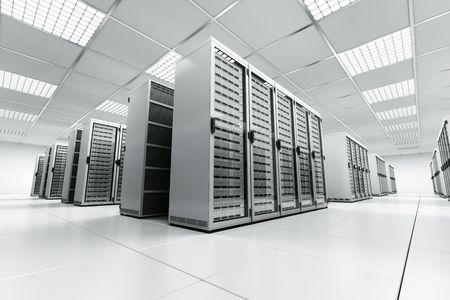 rechenzentrum: 3D Rendering von einem Serverraum mit wei�-Servern
