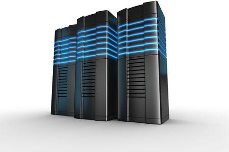 3d rendering of futuristic servers on a white background Reklamní fotografie