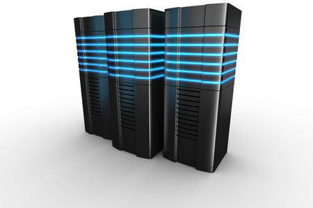 3d rendering of futuristic servers on a white background photo